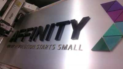 Affinity Express - 3D hollow acrylic + hard acrylic letters on ACP background