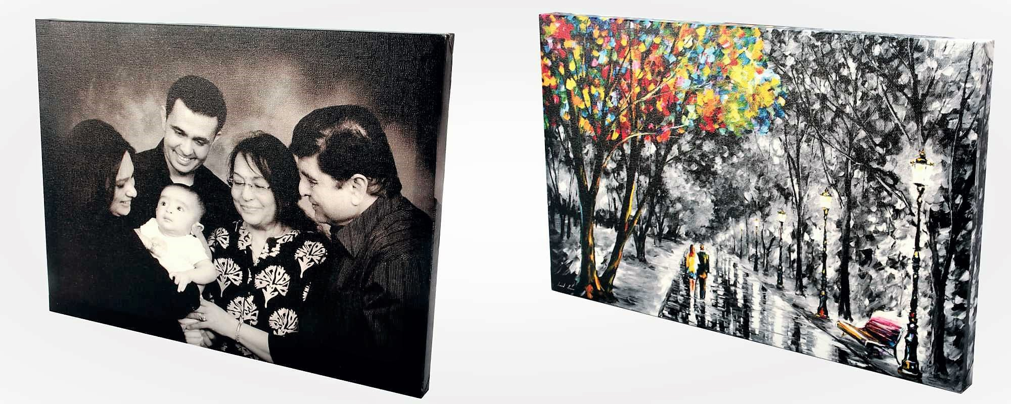 Custom canvas prints of family portraits and hand paintings