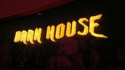 Dark House acrylic box letters with LEDs night view