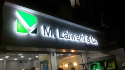MLalwani 3D hollow acrylic letters with vinyl logo cut and front glow mojunted on ACP panel