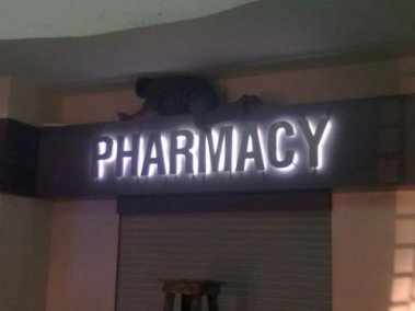 Pharmacy_steel_letters_on_studs_with_all_weather_LEDs_as_backglow_installed