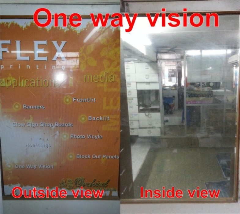 front and back view of one way vision glass printing film which shows the difference in visibility from both sides