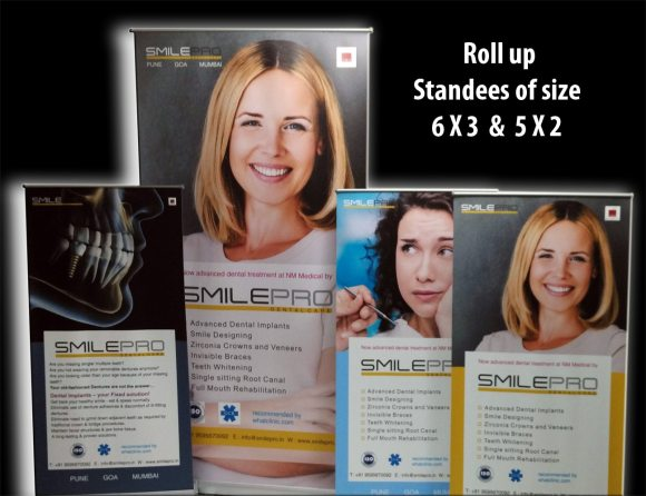 portable exhibition banner display stands of different sizes
