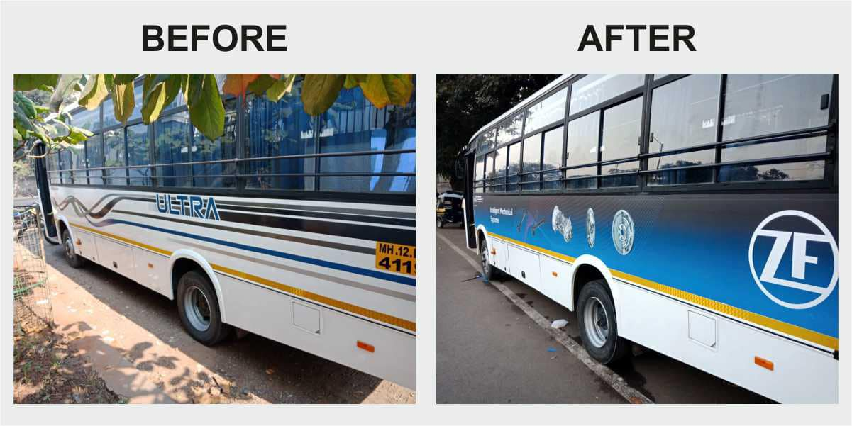 Before and after views of a large bus belonging to ZF company once vehicle branding and printing is executed on the same