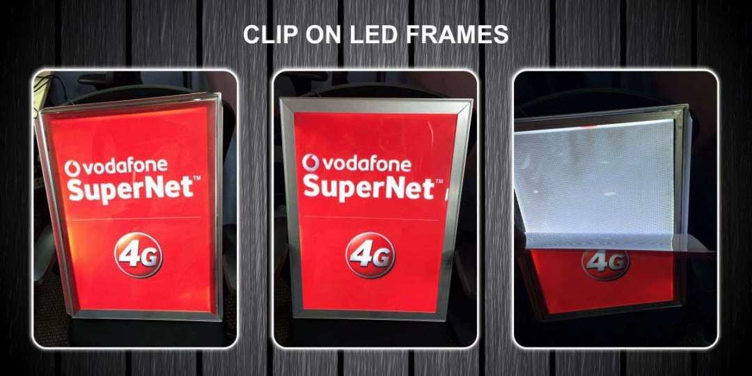 led clip on frames with translite prints