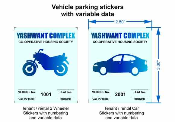 vehicle parking stickers personalised with variable data like the name of the society, parking bay numbers, expiry date, serial number etc.