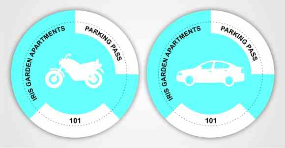 circular artwork of vehicle parking stickers for cars and bikes