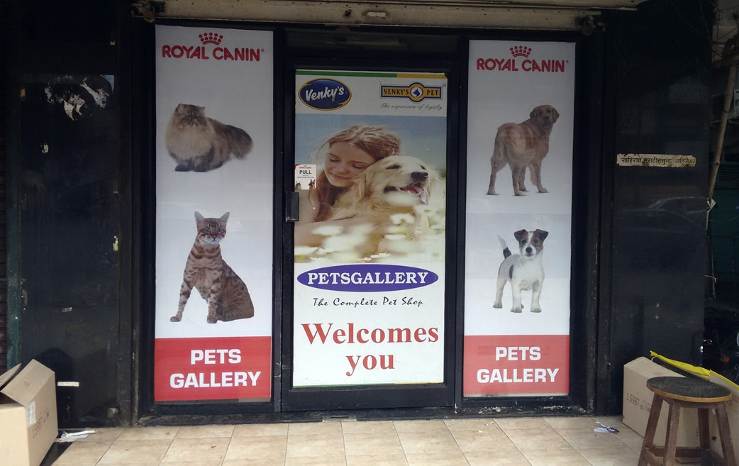 glass film prints for a store front advertising royal canin dog food products