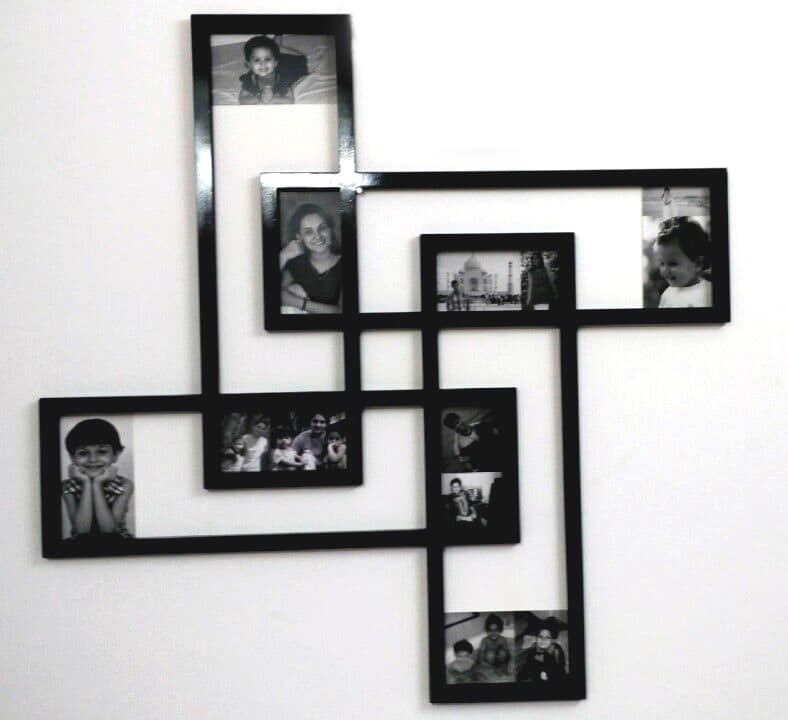Funky photo frame router cut in the shape of a swastik