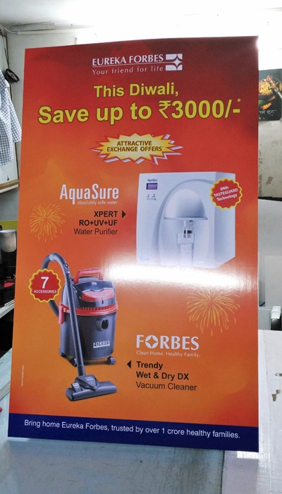 rigid sunboard stand made of PVC showing an ad for Eureka Forbes products