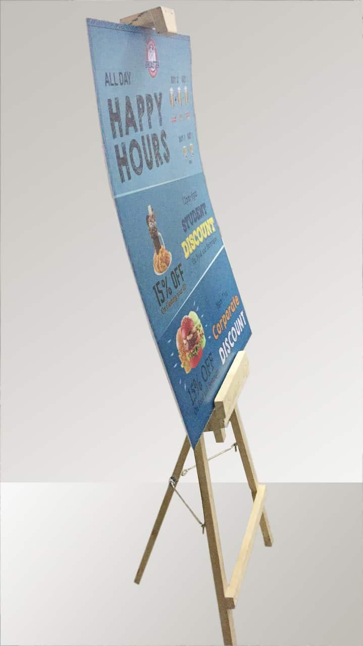 easel standee with sunboard sign works as a storefront display
