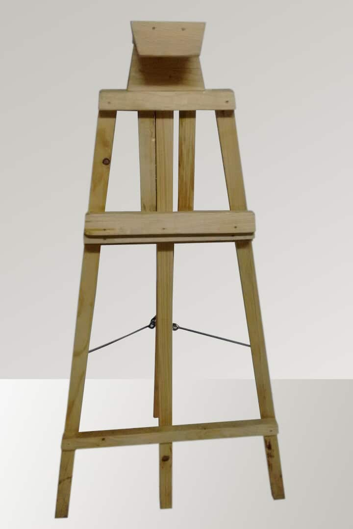 wooden easel standee front view