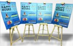 wooden easel standee to catch the customers attention