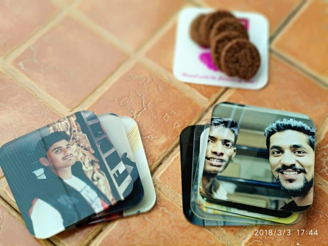 personalized coasters having photographs printed