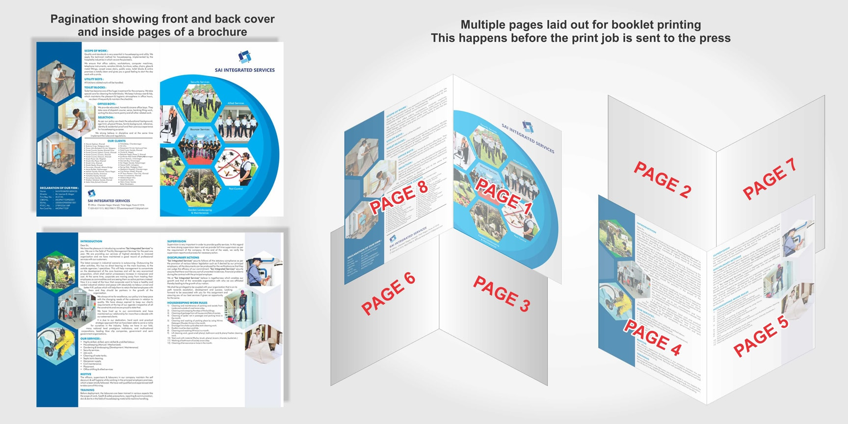 sequential pages are paginated and laid out as a booklet for brochure printing