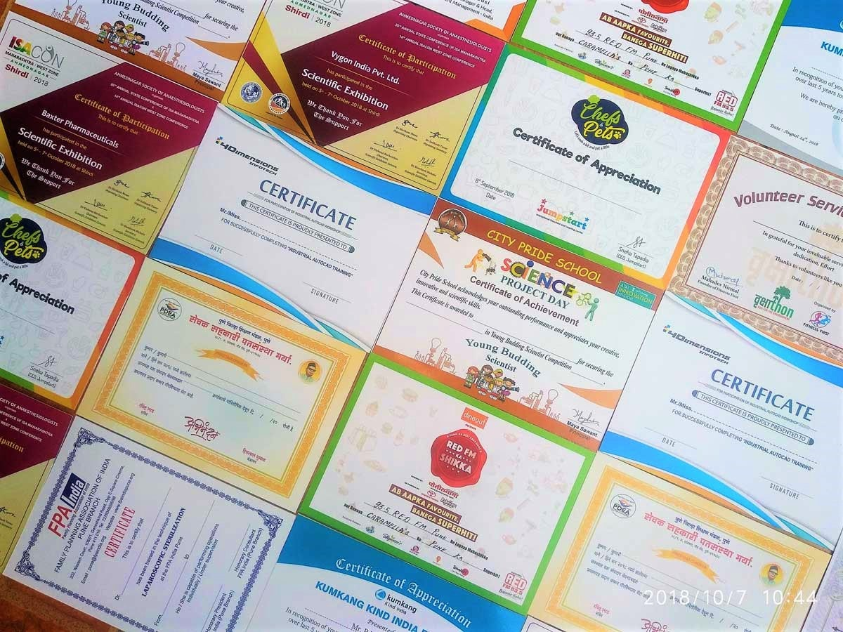 assortment of color certificates digitally printed