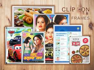 a collection of aluminium clip on frames which display posters in a refined and elegant manner