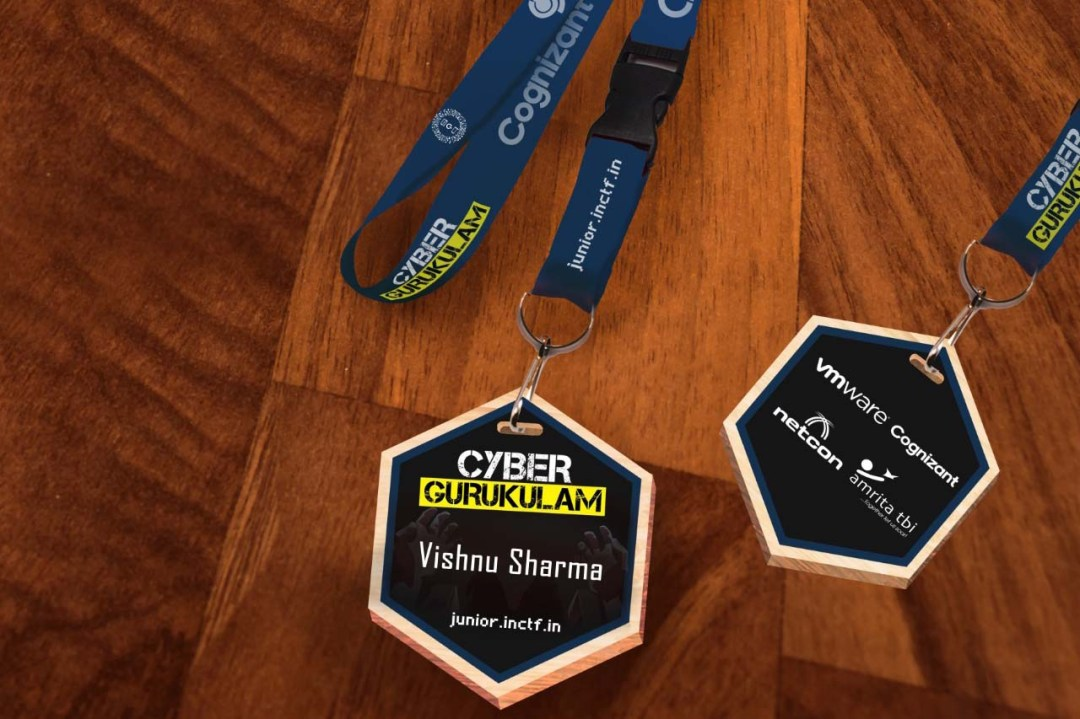 custom printed badges on a UV flatbed printer using laser cut mdf