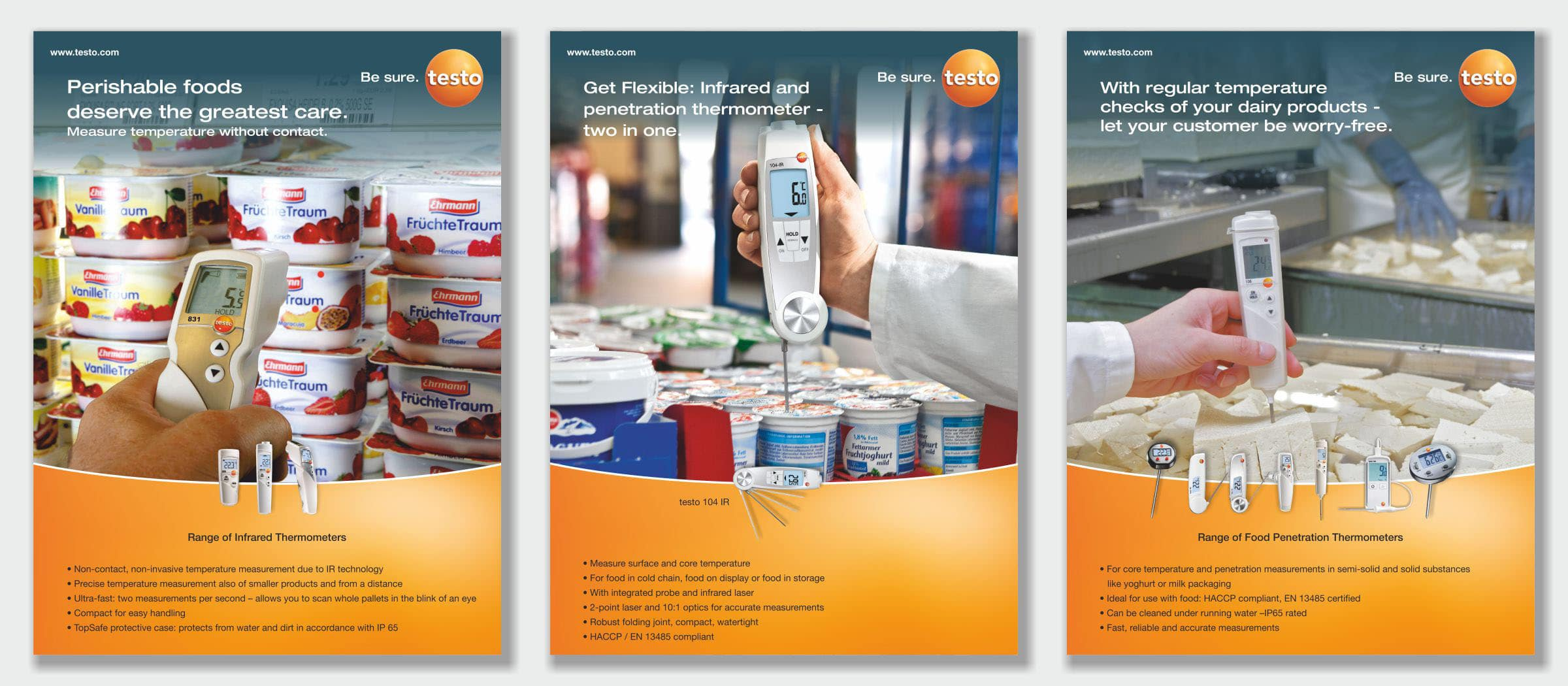 3 product artworks of Testo company for poster presentation at a dairy expo
