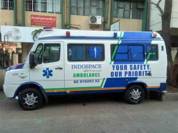 Personalised design and branding done on the side of an ambulance belonging to the Indospace Company