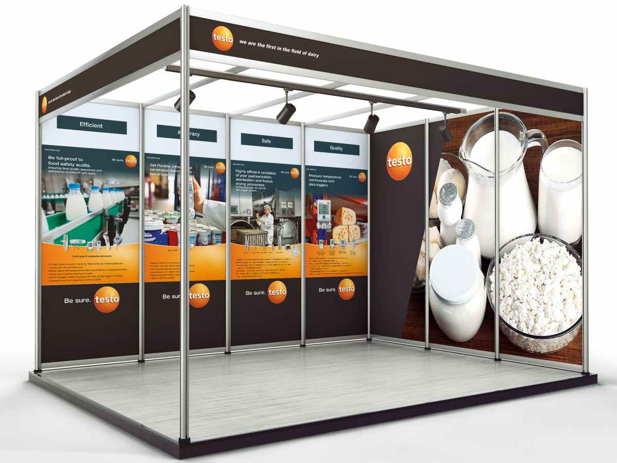 Exhibition posters for Testo company printed on a grey back media and pasted on the panels of a trade show booth