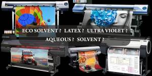 collage of wide format printers using eco solvent latex UV aqueous and solvent inks