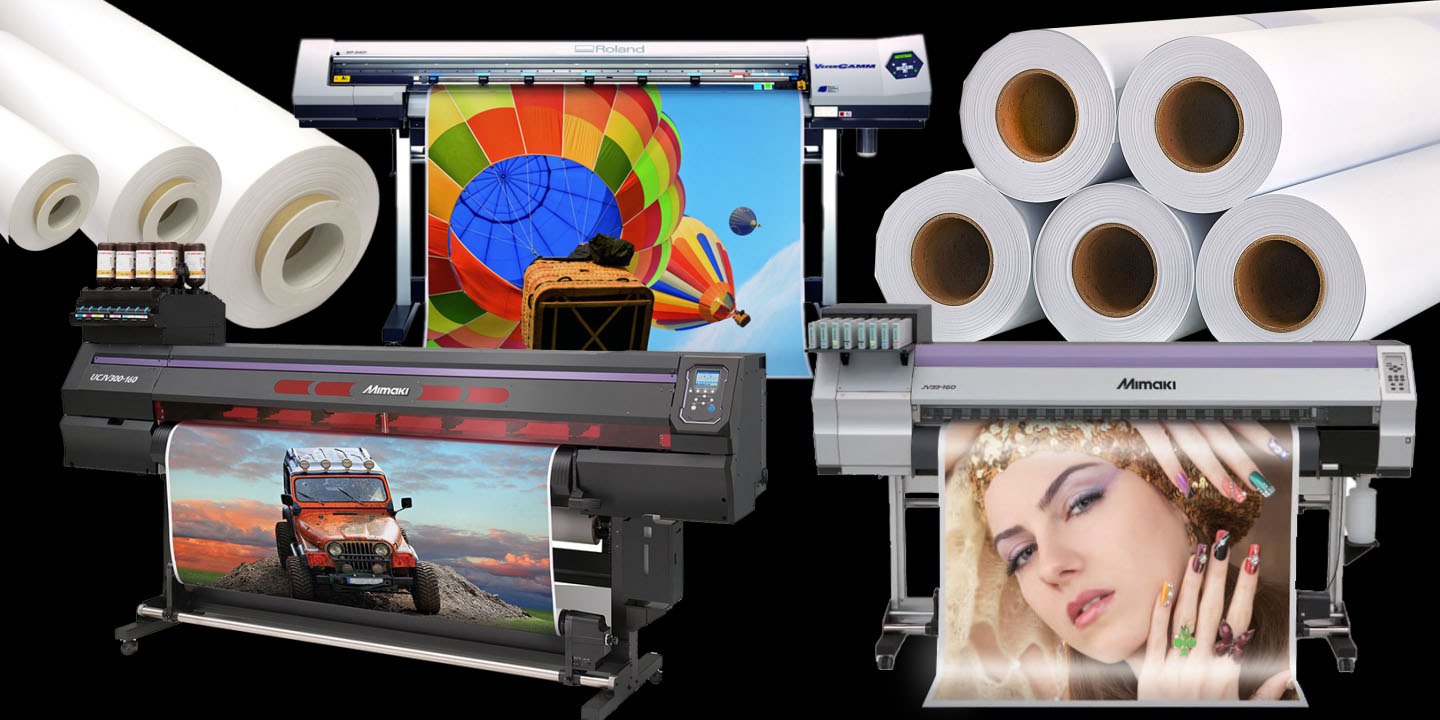 a collage of three wide format inkjet printers and rolls of vinyl stacked together on a black background