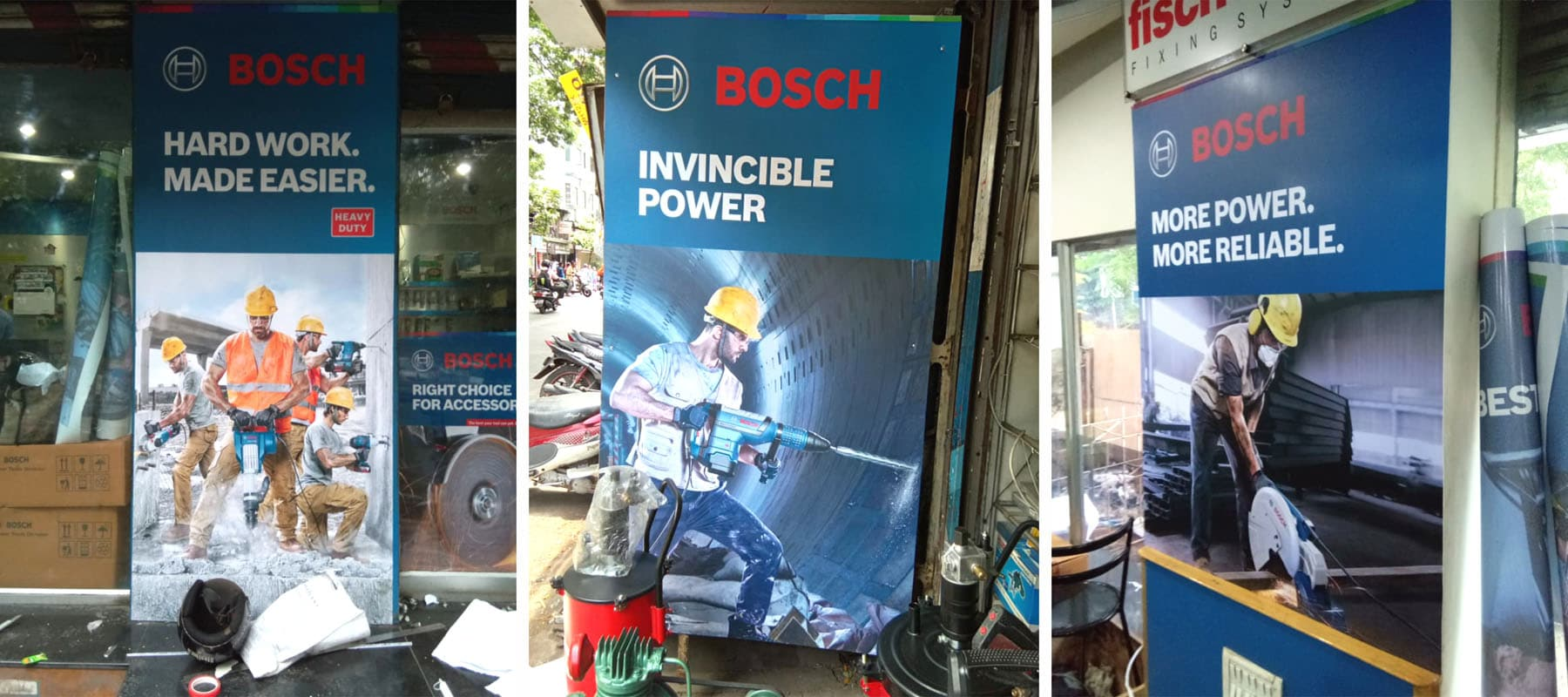 Three advertisement jobs of the Bosch tool company printed on SAV - self adhesive vinyl and pasted in a store