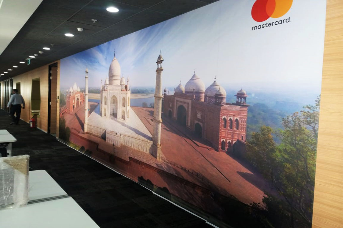 Photo of the Taj Mahal inkjet printed on self adhesive vinyl to create a huge wallpaper for enhancing the interiors of an office