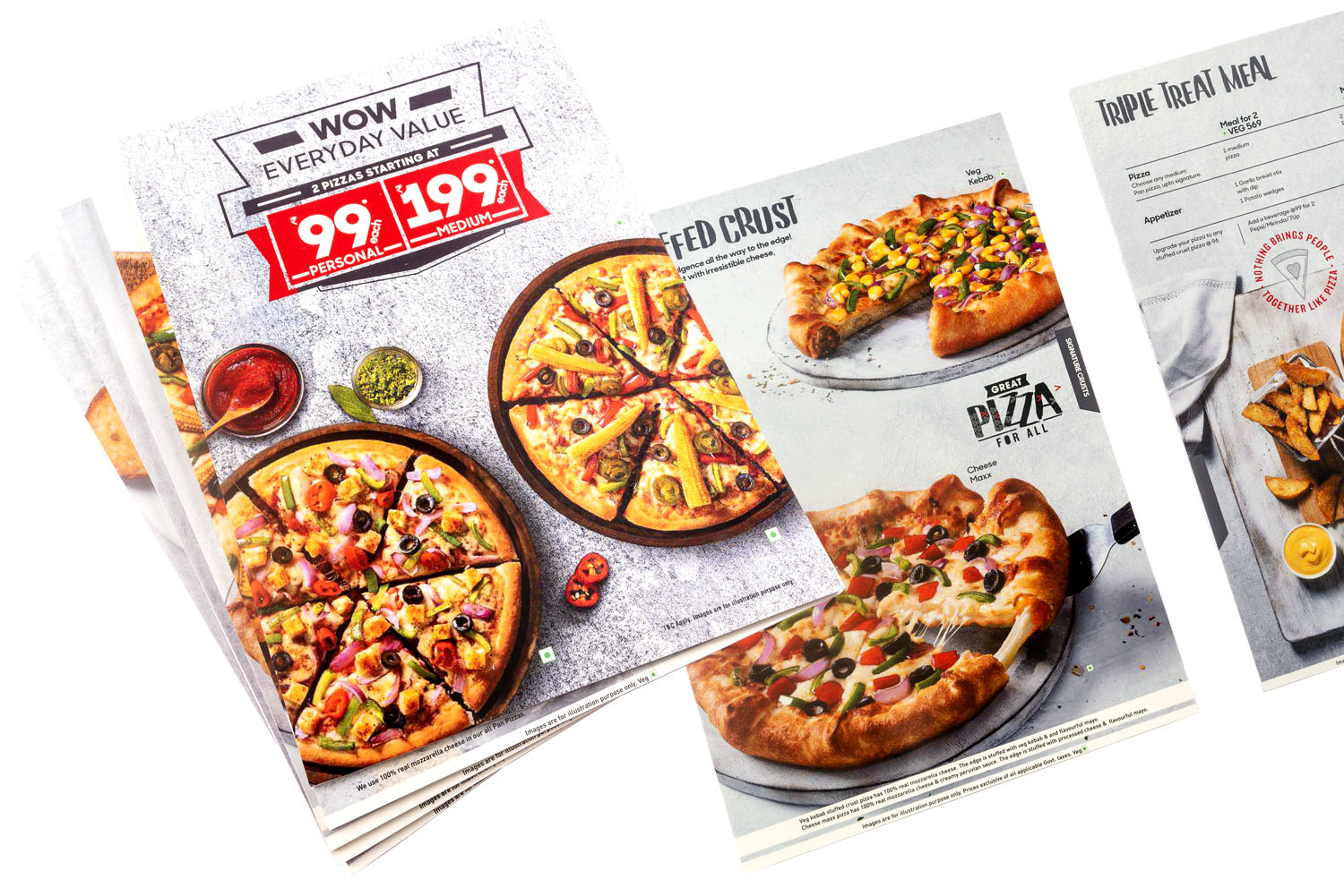 multiple thick rigid waterproof foam sheet printed menu cards of hotel spread out to show images of pizzas pastas and other fast foods