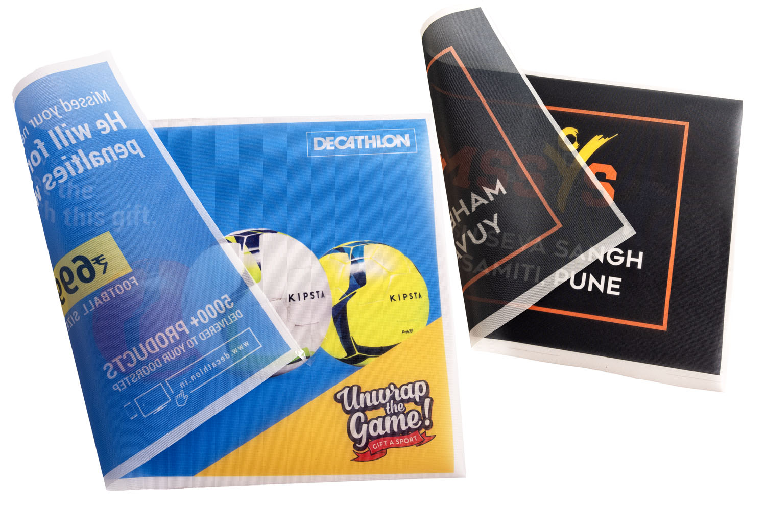 printed mesh fabric is ideal for creating two sided flags where the print on one side gets reproduced on the reverse