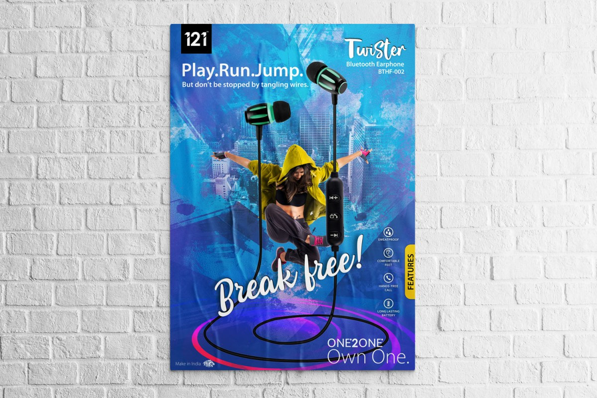 Colourful paper poster advertising earphones of the Twister brand pasted on a brick wall