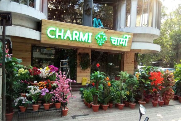 3D acrylic glow sign board for the Charmi store with letters mounted on a wooden panel