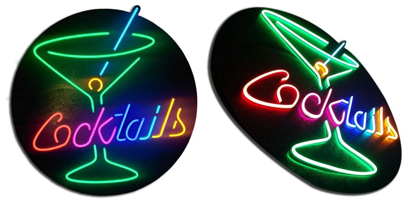 neon sign for a cocktail bar made in multicolor neon lights mounted on a black disk