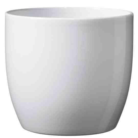 Basel Full Colour Orchid Ceramic Pot Shiny White (16cm)