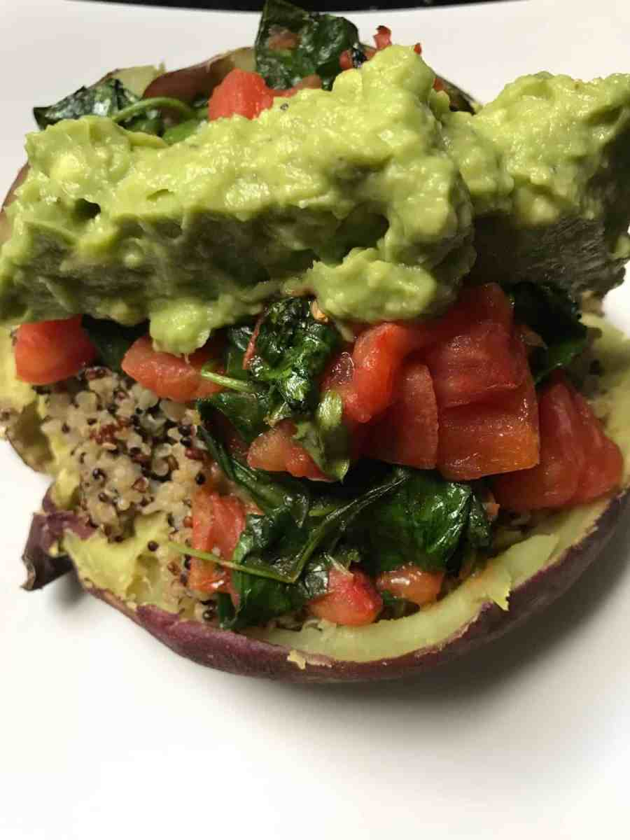 Vegan Loaded Sweet Potato with Guacamole