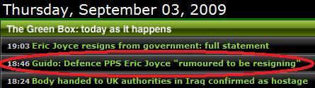 Eric Joyce Newswire Timeline