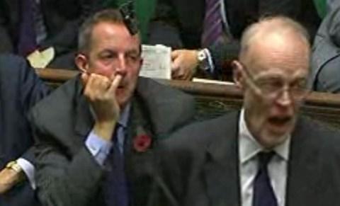 Nick Boles Picks His Nose in Parliament