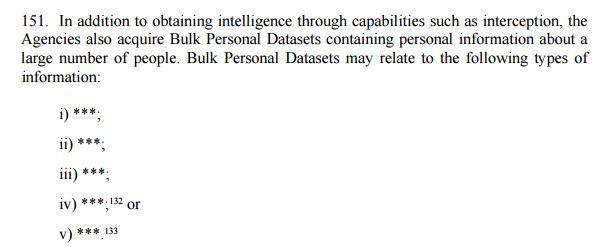 bulk personal datasets information