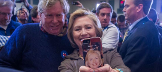 burns and clinton selfie