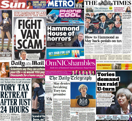 Front Pages: Budget Bloodbath Day Two