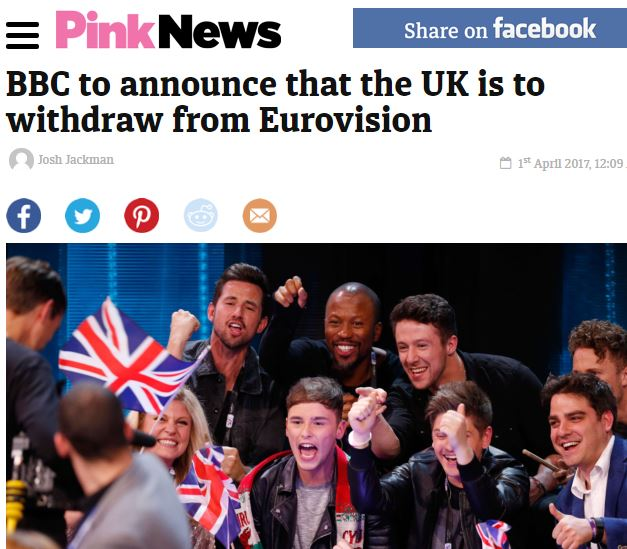 BBC Sense of Humour Bypass Over Eurovision April Fools - Guido Fawkes