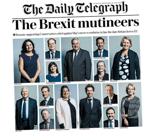 Brexiteers Livid With Telegraph Front Page