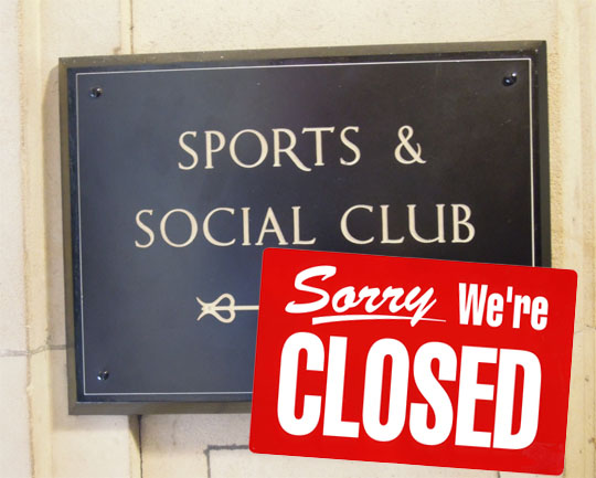 Sports and Social Closed Indefinitely
