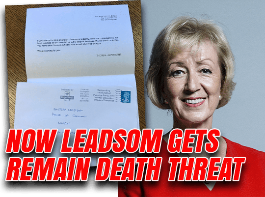 Leadsom Contacts Police Over Brexit Death Threat