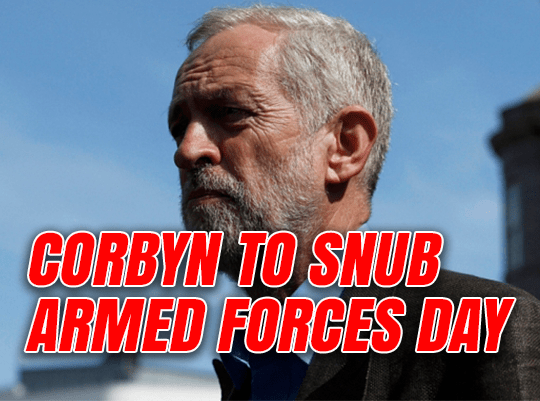Corbyn to Snub Armed Forces Day Event