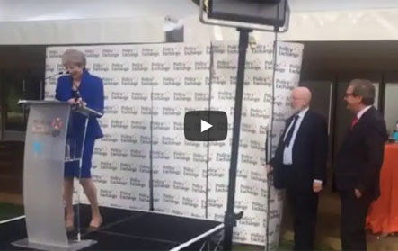 WATCH: May Speech Brings About Policy Exchange Collapse