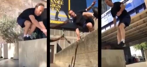 Hancock Jumps on a Wall