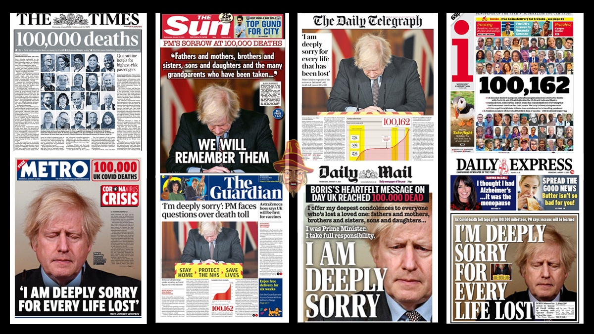 100,000 Deaths Milestone Front Pages