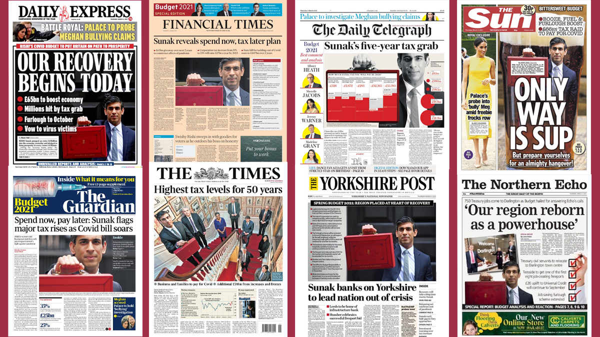 Budget Day Front Pages